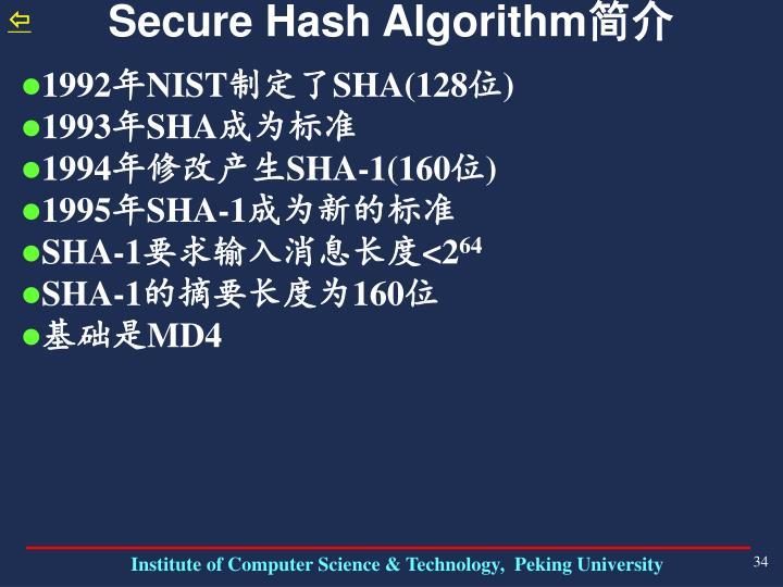Secure Hash Algorithm