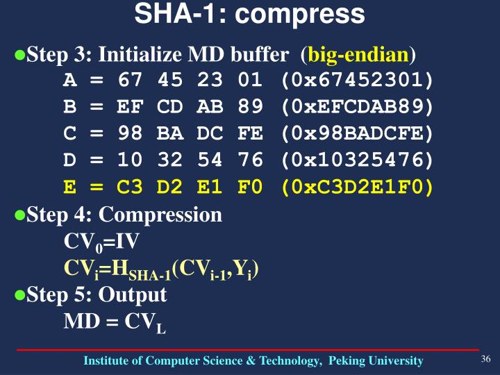 SHA-1: compress