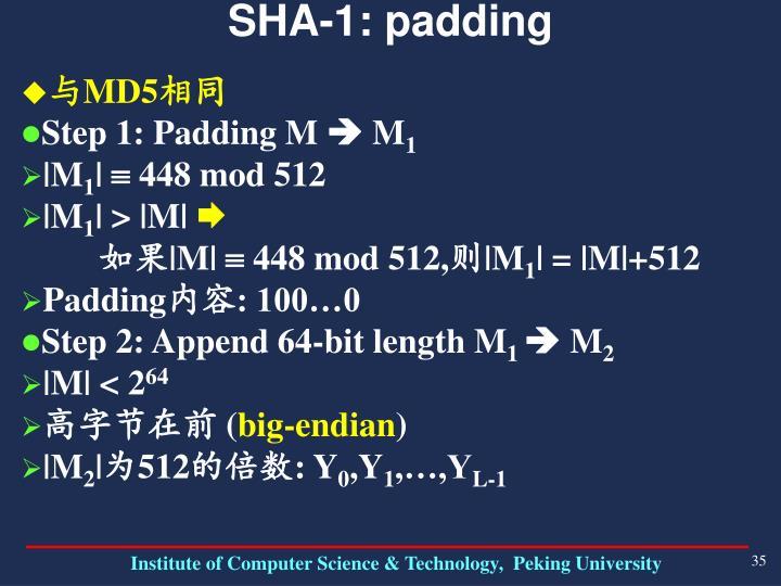 SHA-1: padding