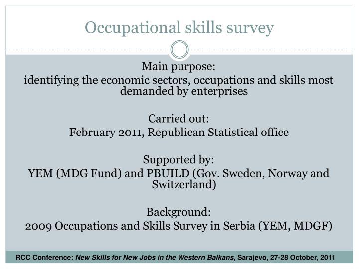 Occupational skills survey