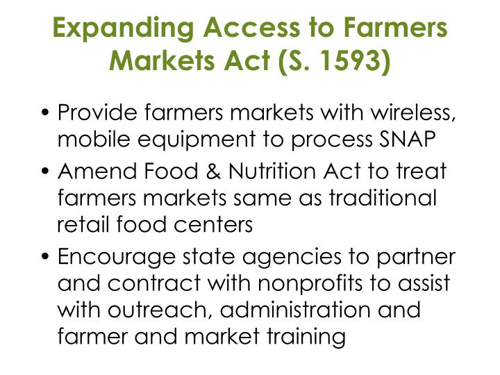 Expanding Access to Farmers Markets Act (S. 1593)