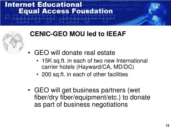 CENIC-GEO MOU led to IEEAF