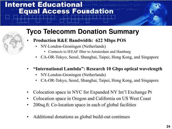 Tyco Telecomm Donation Summary