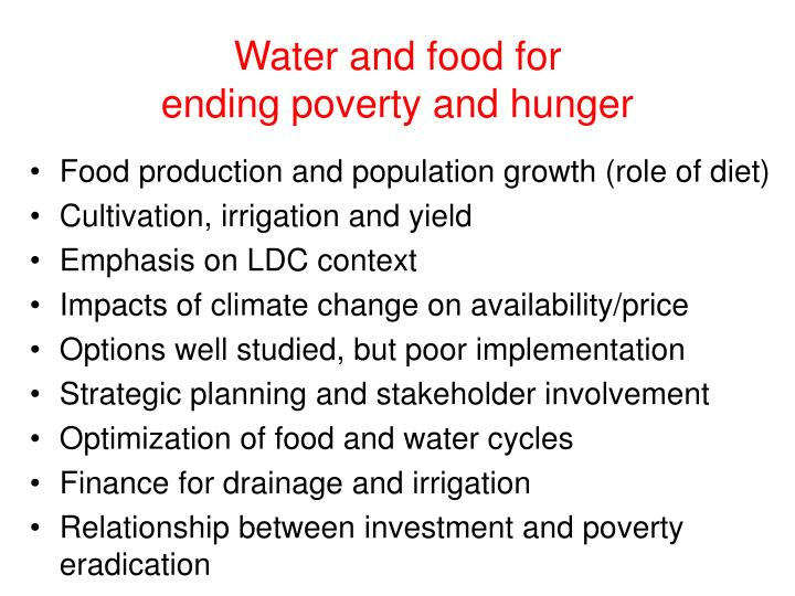 Water and food for