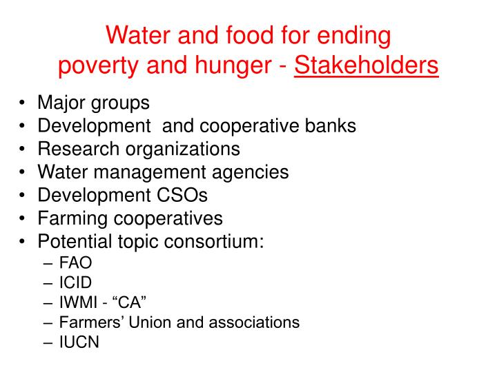 Water and food for ending