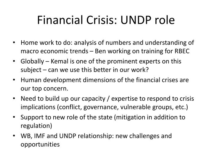 Financial Crisis: UNDP role