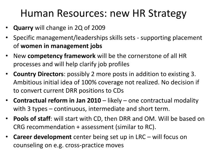 Human Resources: new HR Strategy