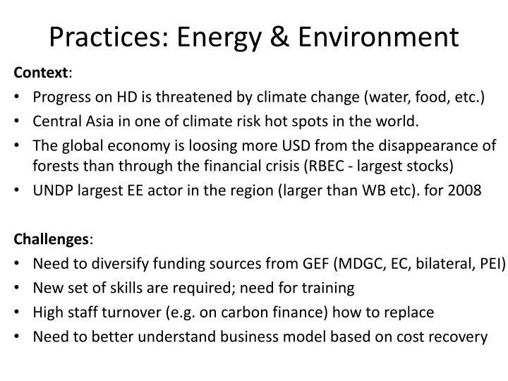 Practices: Energy & Environment