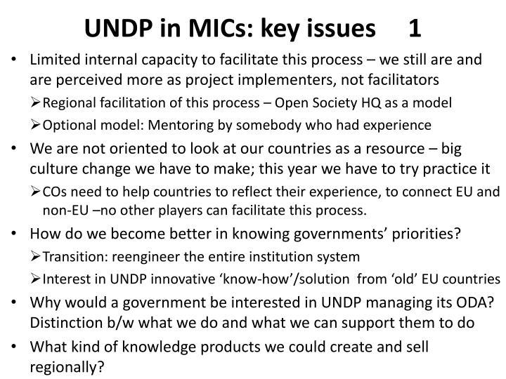 UNDP in MICs: key issues     1