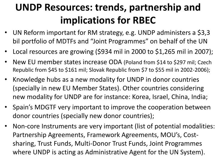 UNDP Resources: trends, partnership and implications for RBEC