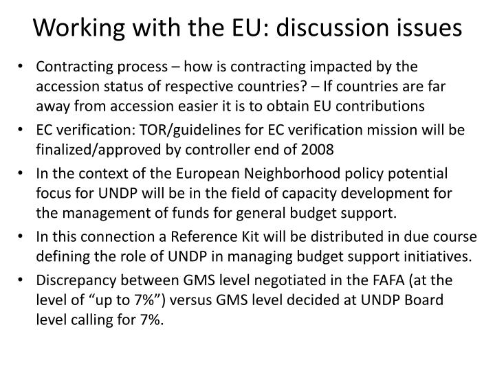 Working with the EU: discussion issues