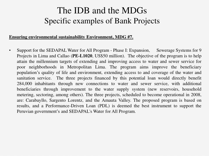 The IDB and the MDGs