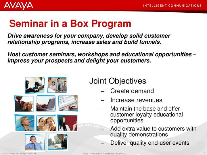 Seminar in a box program