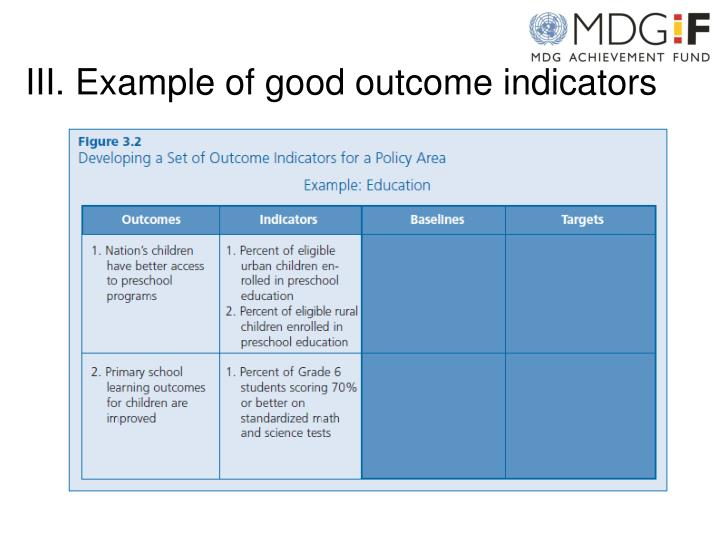 III. Example of good outcome indicators