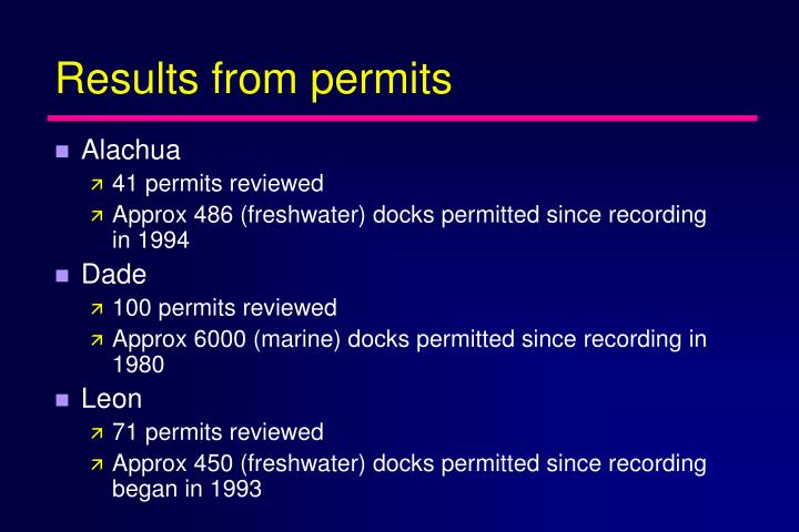 Results from permits