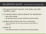 qualitative results stakeholder meetings 86