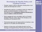 developing air quality policy and funding formula
