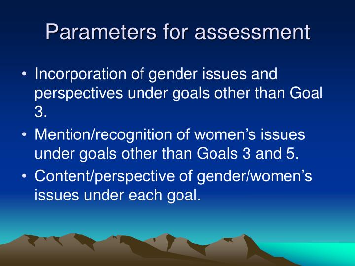 Parameters for assessment