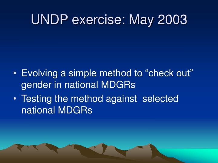Undp exercise may 2003
