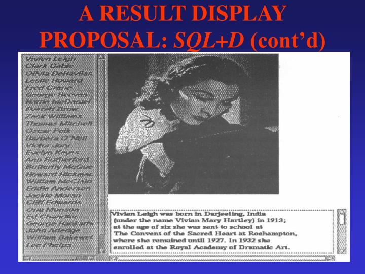 A RESULT DISPLAY PROPOSAL: