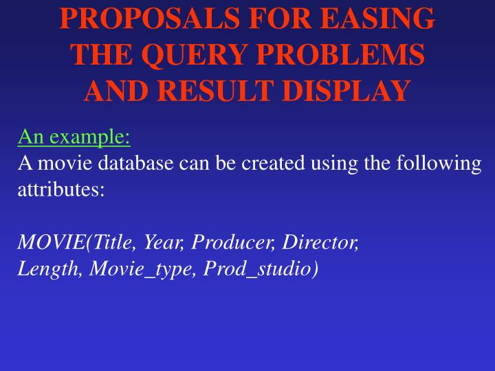PROPOSALS FOR EASING THE QUERY PROBLEMS AND RESULT DISPLAY