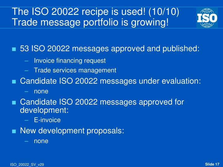 The ISO 20022 recipe is used! (10/10)