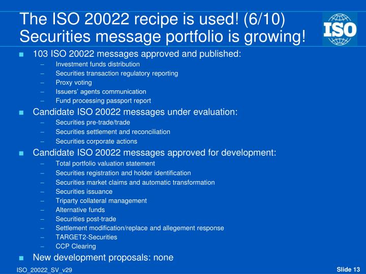 The ISO 20022 recipe is used! (6/10)
