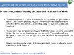 maximizing the benefits of culture and the creative sector