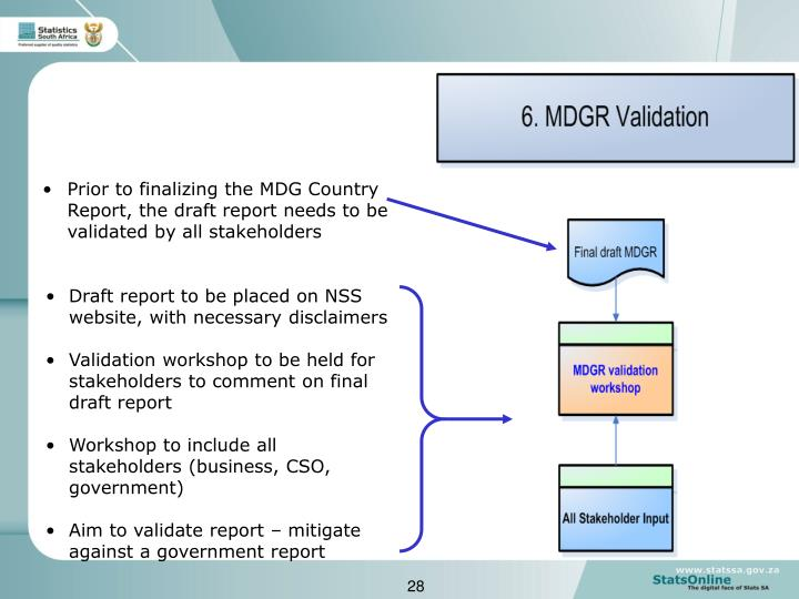 Prior to finalizing the MDG Country Report, the draft report needs to be validated by all stakeholders