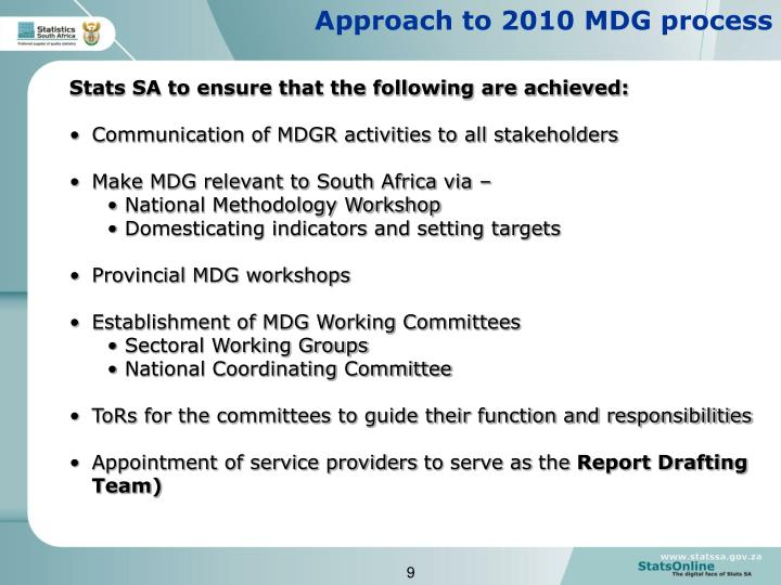 Approach to 2010 MDG process