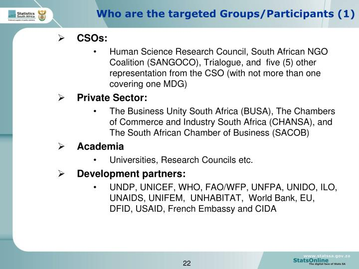 Who are the targeted Groups/Participants (1)