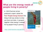 what are the energy needs of people living in poverty
