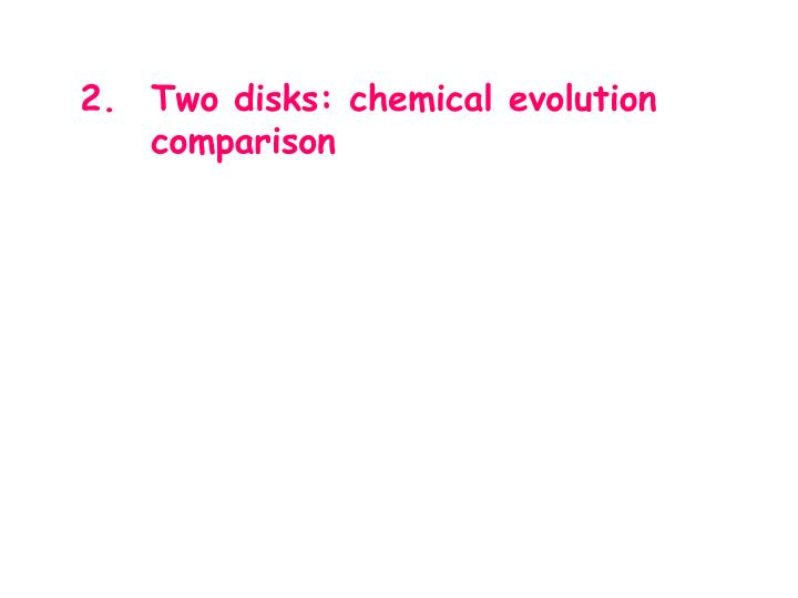 Two disks: chemical evolution  comparison