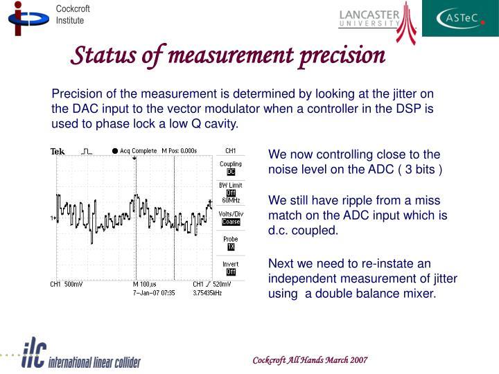 Status of measurement precision