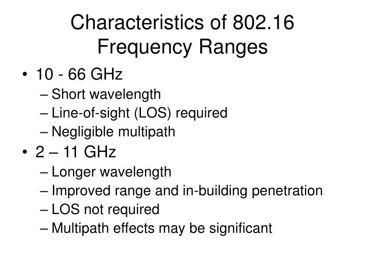 Characteristics of 802.16 Frequency Ranges