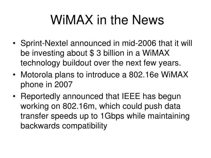 WiMAX in the News