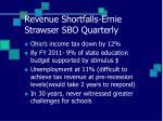 revenue shortfalls ernie strawser sbo quarterly