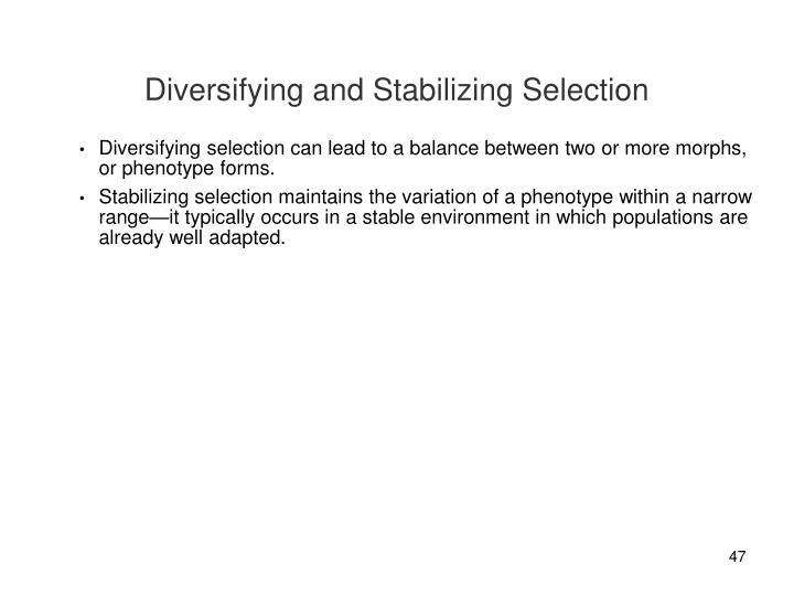 Diversifying and Stabilizing Selection