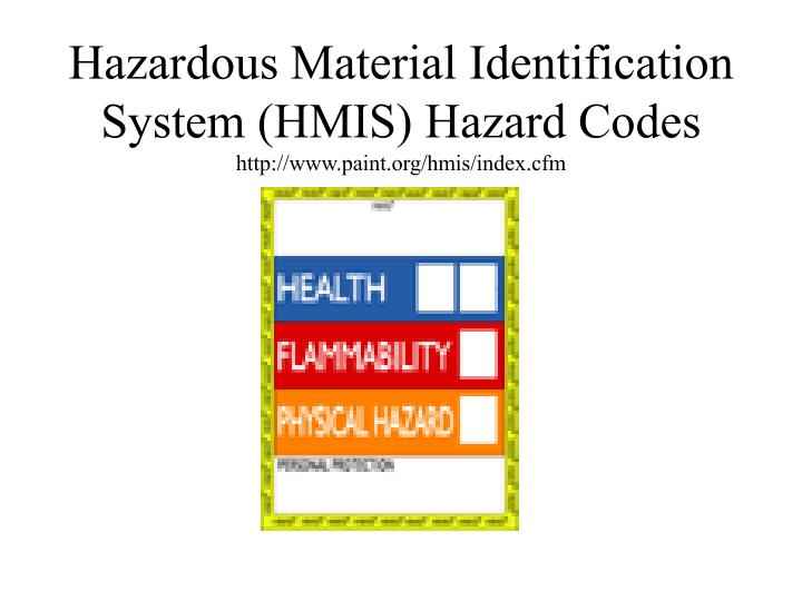 Hazardous Material Identification System (HMIS) Hazard Codes