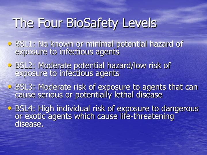 The Four BioSafety Levels
