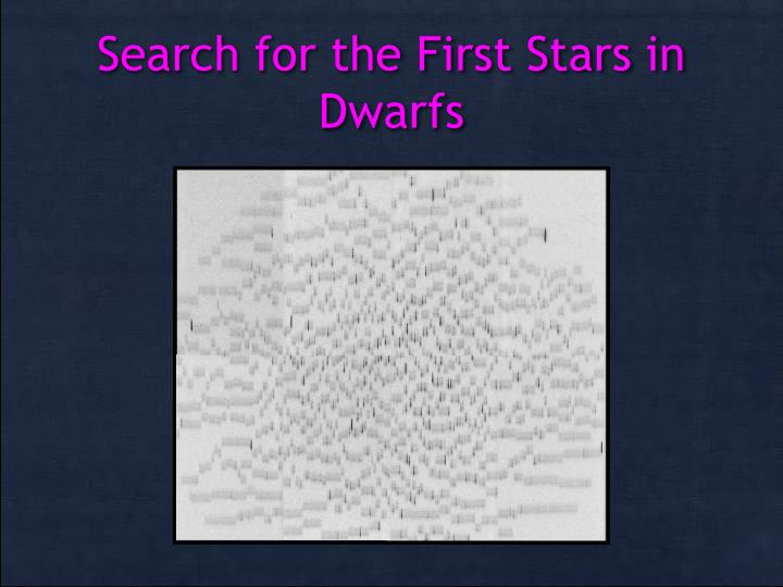 Search for the First Stars in Dwarfs