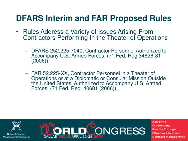 DFARS Interim and FAR Proposed Rules