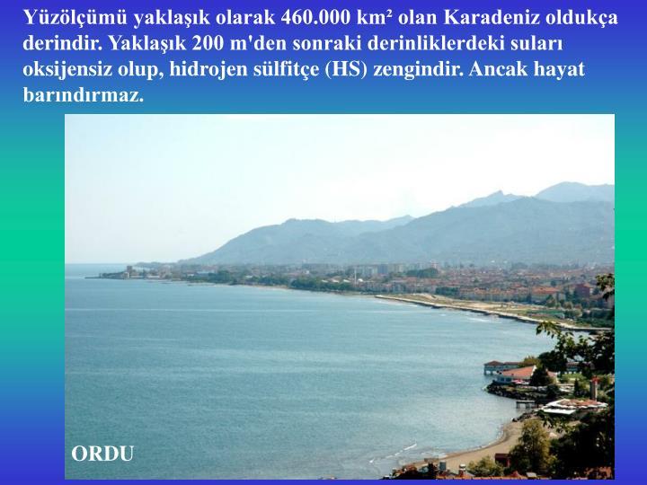 Yüzölçümü yaklaşık olarak 460.000 km² olan Karadeniz oldukça derindir
