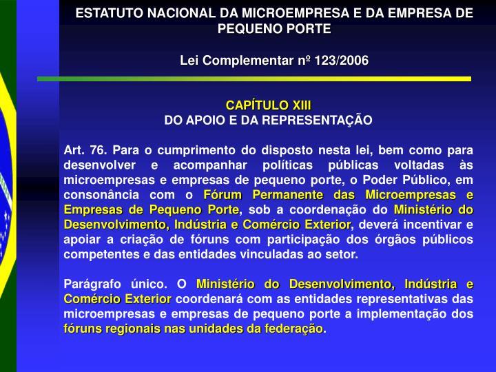 ESTATUTO NACIONAL DA MICROEMPRESA E DA EMPRESA DE PEQUENO PORTE
