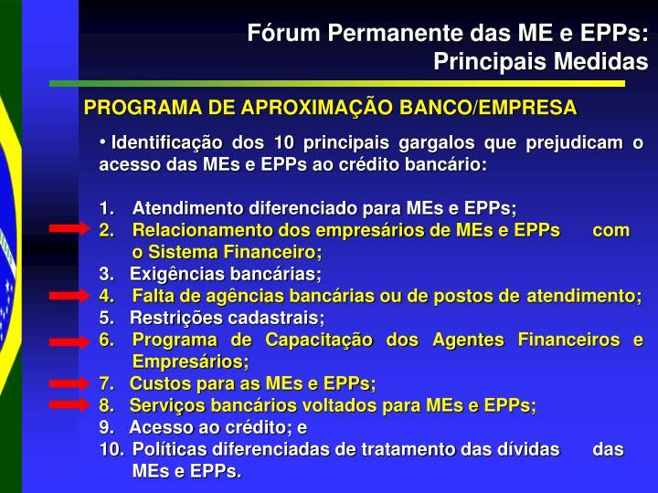 Fórum Permanente das ME e EPPs: