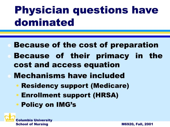 Physician questions have dominated