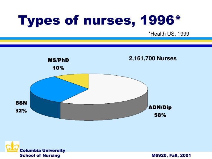 Types of nurses, 1996*