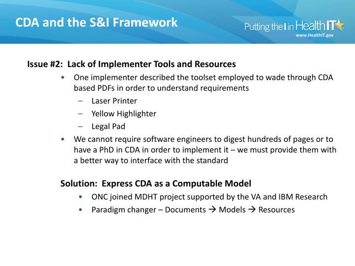 CDA & the S&I Framework