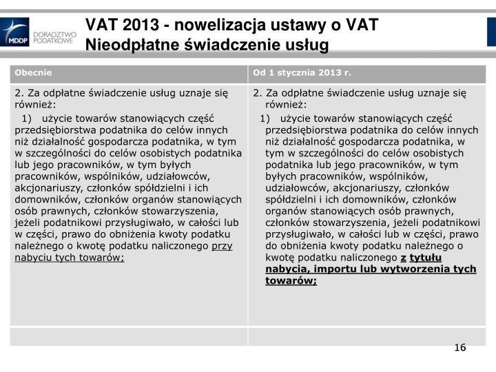 VAT 2013 - nowelizacja ustawy o VAT