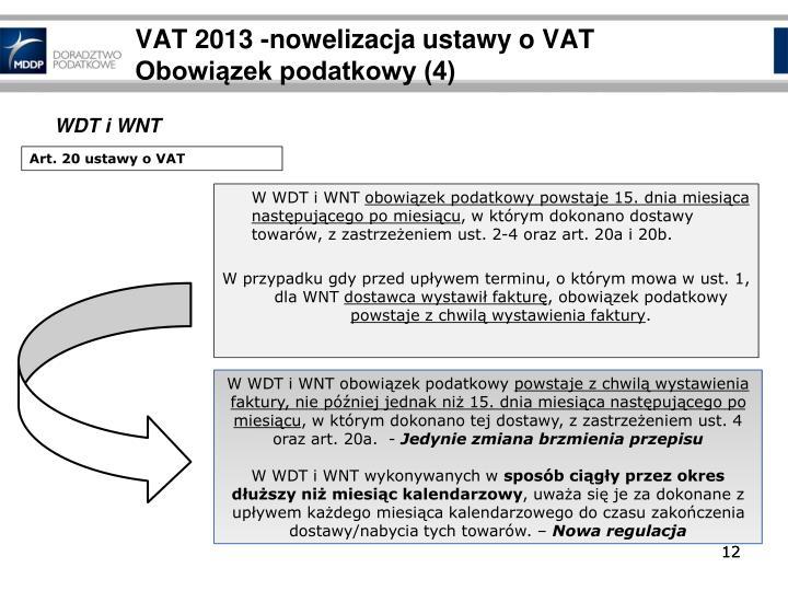 VAT 2013 -nowelizacja ustawy o VAT